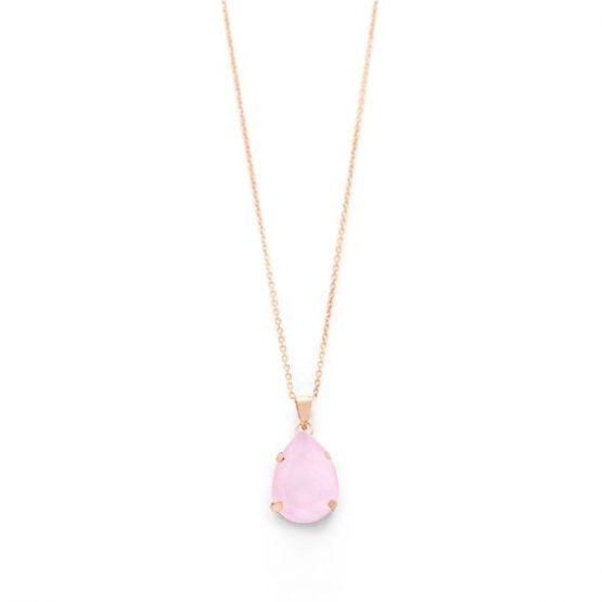 Cadena y colgante lagrima plata de Ley color rosa