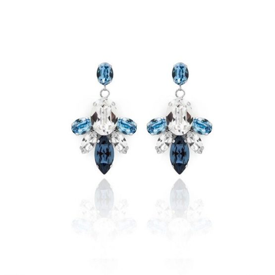 Pendientes Largos ovales colores crystal, Aguamarina y Denim Blue